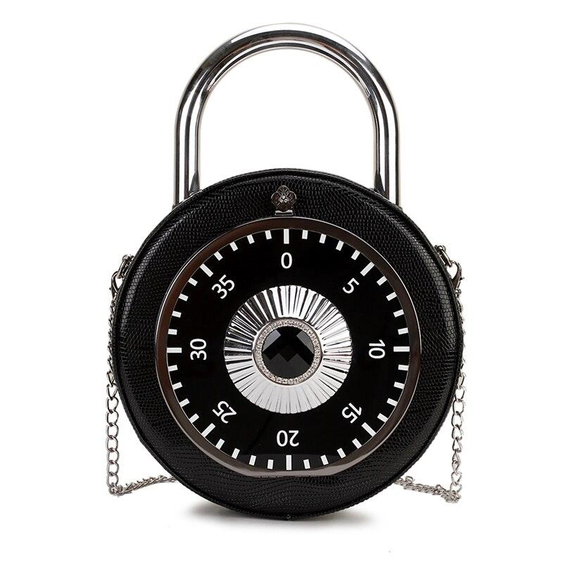 Personality Trend Password Lock Design Round Casual Ladies Handbag Shoulder Bag Crossbody Messenger Bag Totes Bag