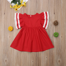 Sister Matching Red Ruffled Dress Outfits
