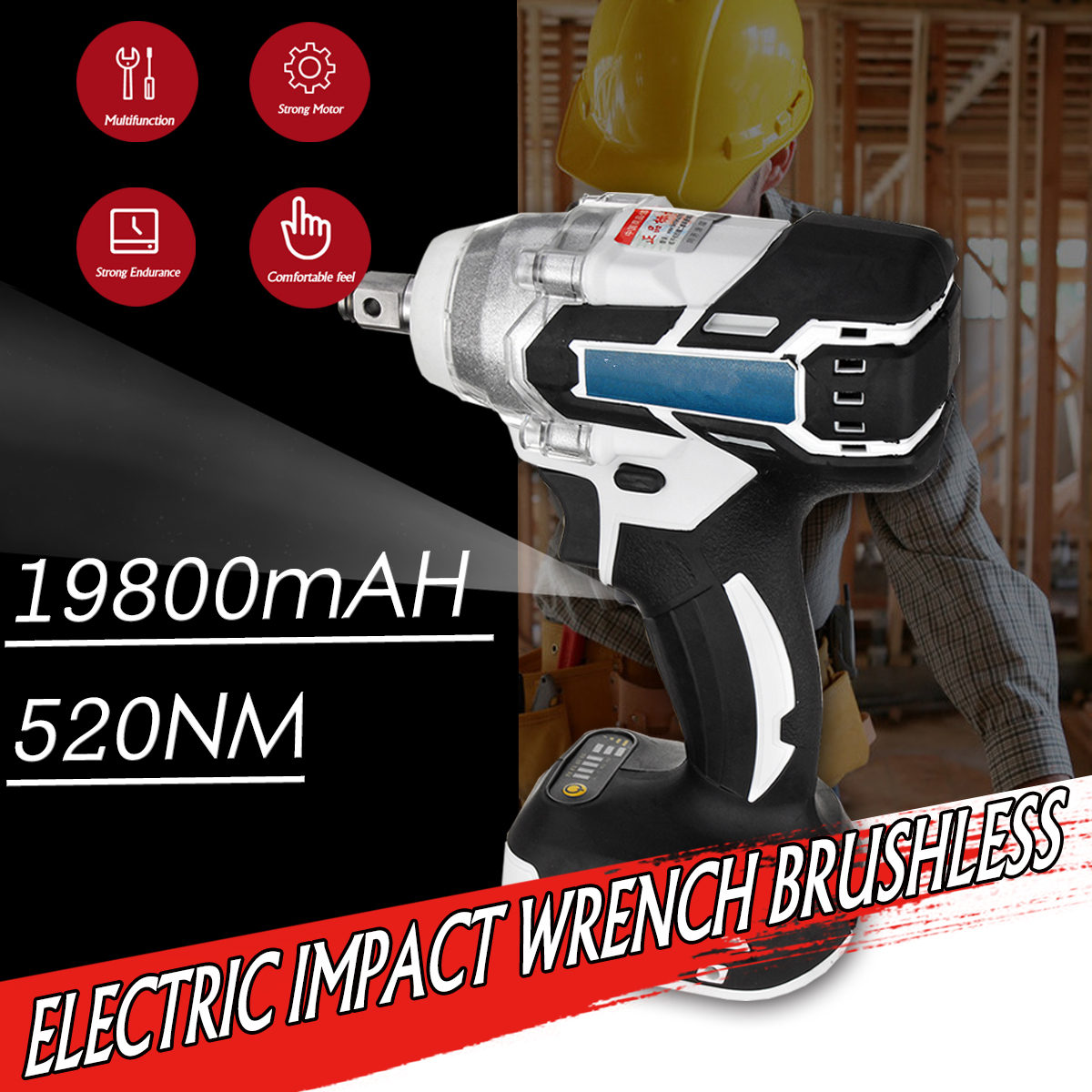 Multifunction 128V 1280W 19800mAH Electric Cordless Brushless Hammer Power Drill Screwdriver 240-520NM Adjustable Stepless Speed