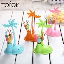 Tofok 6Pcs/set Monkey Shape Plastic Fruit Fork Set Coconut Tree Holder Vegetable Forks Salad Dessert Cake Party Decor