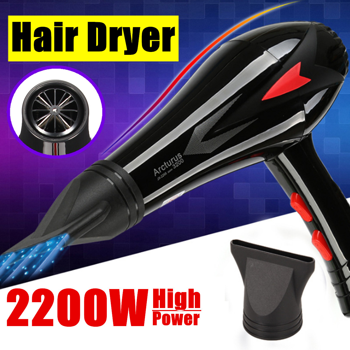 Professional Style Hair Settings Concentrator Nozzle Dryer 2200W 3 Heat 2 Speed Constant Temperature AU Plug Quick Accessories povos ph9022i 3 mode electric 2200w hair dryer white golden 2 flat pin plug