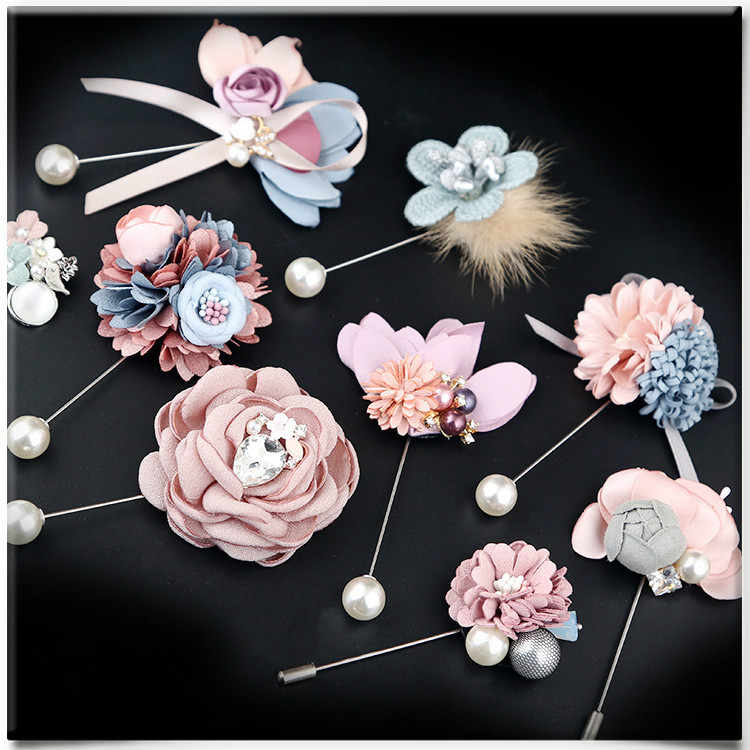 i-Remiel Fashion Cloth Art Fabric Flower Long Needle Brooch Pin Korean Shawl Cardigan Corsage Lapel Badge Clothing & Accessories