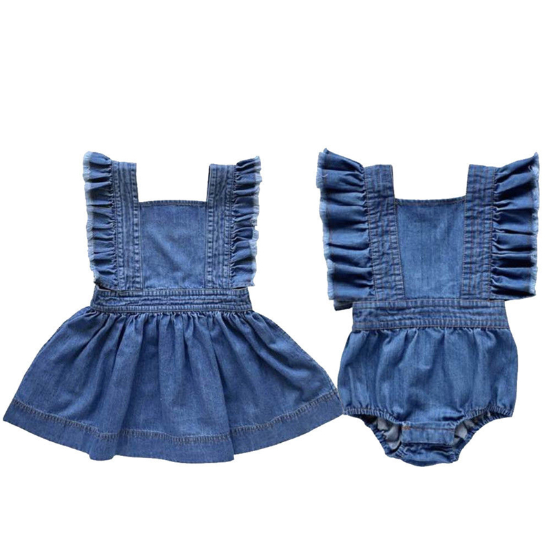 Baby Sister Matching Outfits Denim Baby Jumpsuit Romper Ruffle Kids Dress Sleeveless Mini Dress Girls Outfits Family Clothes