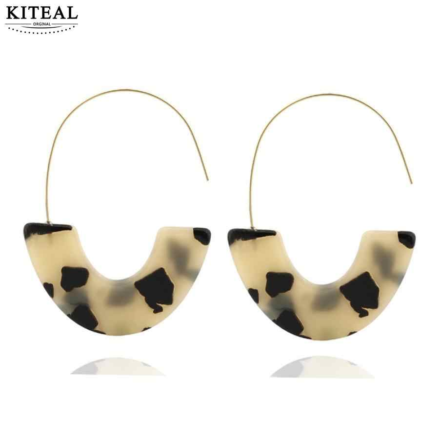 Kiteal New Fashion Tortoise Color Leopard Print Acrylic Acetic Acid Geometric half Circle Square Long Drop Earrings for Women