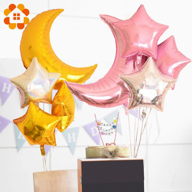4pcs 36inch 18inch Moon Star Laser Air Balloons Birthday Party Helium Balloon Decorations Wedding Festival Balon Party Supplies