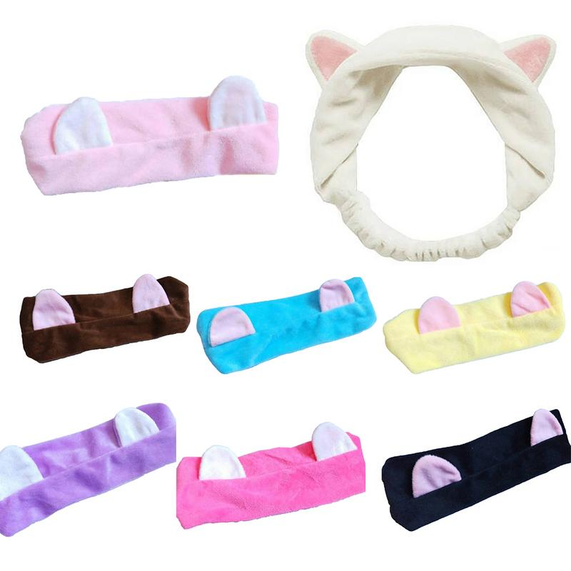 MISS M Cute Ear Soft Carol Fleece Women Men Headband Makeup Shower Head Wrap Hair Band for Washing Face Shower Spa Mask