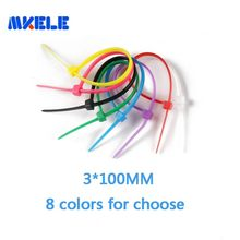 100pcs/bag Self-locking Nylon Cable Ties 3*100 mm Plastic Zip Tie 8 Colors For Choose Cable Ties Fasten Loop For Wires Tidy(China)