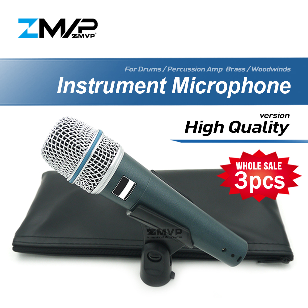 3pcs lot High Quality Version Supercardioid BETA57 Professional Instrument Microphone 57A Drums Percussion Microfone Mike Mic