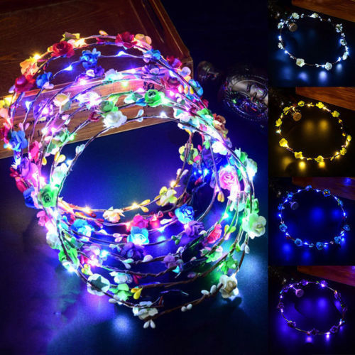 Wedding Party Crown Flower Headband Led Light Up Hair Wreath Hairband Garlands Elegant And Sturdy Package