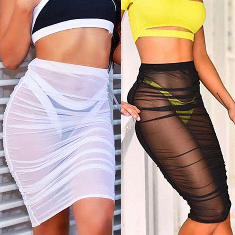 New Fashion Womens Summer Mesh Skirts Sexy See Through Beach Skirts Fashion Chiffon Sundress Skirt jeans con blazer mujer