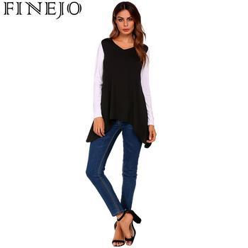Frauen Mode V-ausschnitt Langarm Kontrast Farbe Asymmetrische Tunika T-Shirt