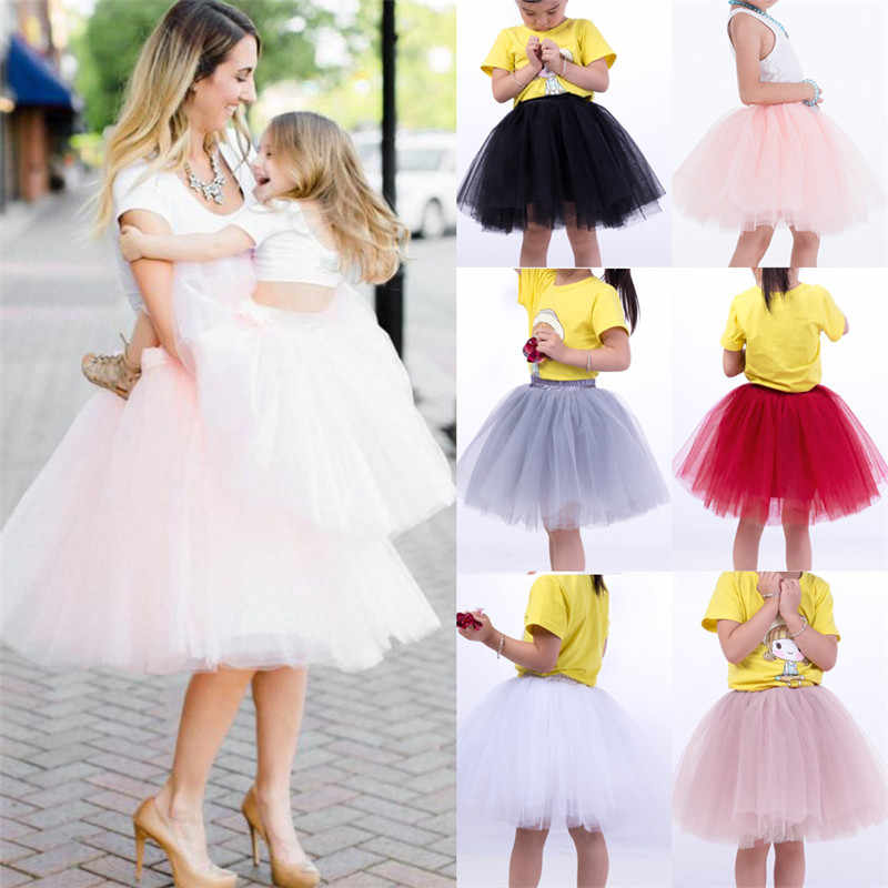 50fb6a43f ... Family Matching Elegant Clothes Women Kids 7 Layers Tulle Tutu Skirt  Mother Daughter Princess Party Ballet ...