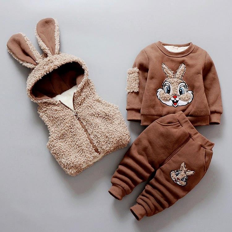 Winter Baby Infant Kids 3 Pcs Set Newborn Cartoon Rabbit Deer Clothes Children s Velvet Thickened