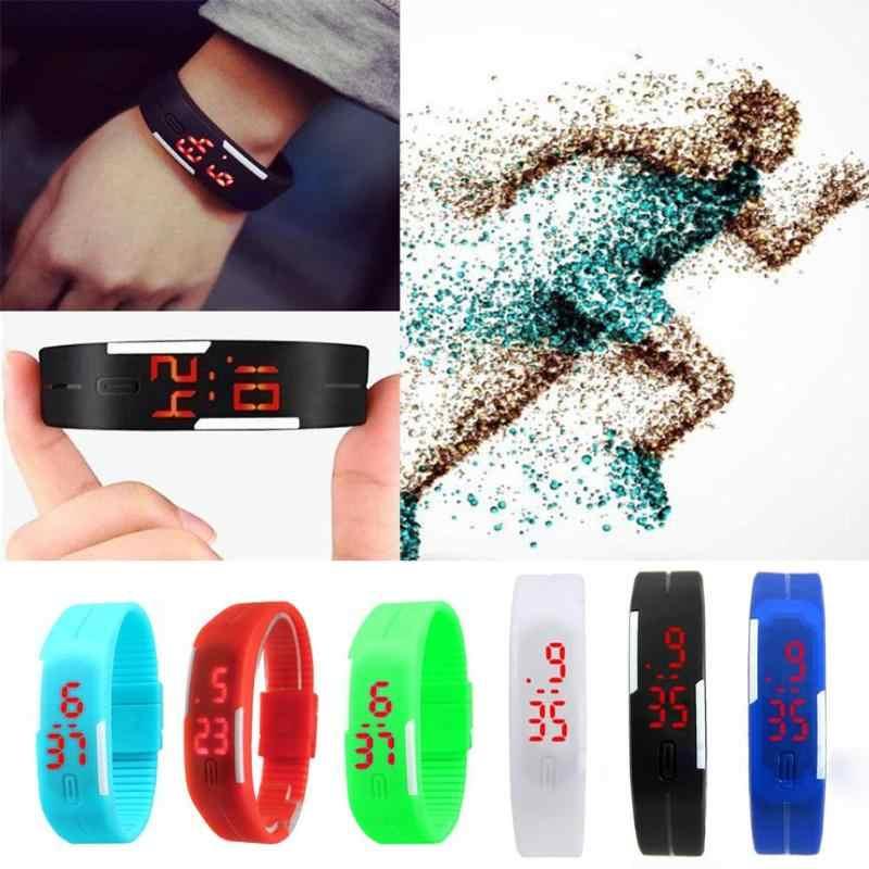 2018 גברים נשים LED דיגיטלי ספורט שעון יד אלקטרוני שעונים אופנה ילדי שעון Creative לוח שנה צבעוני גומי חכם