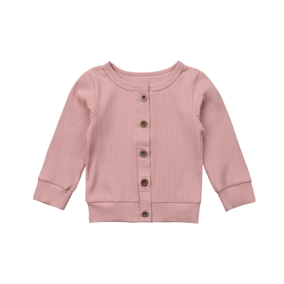 Casual suave recién nacido abrigos de bebé sólido niños pequeños niñas suéter de punto niños Cardigan colorido traje de moda infantil botón abrigo