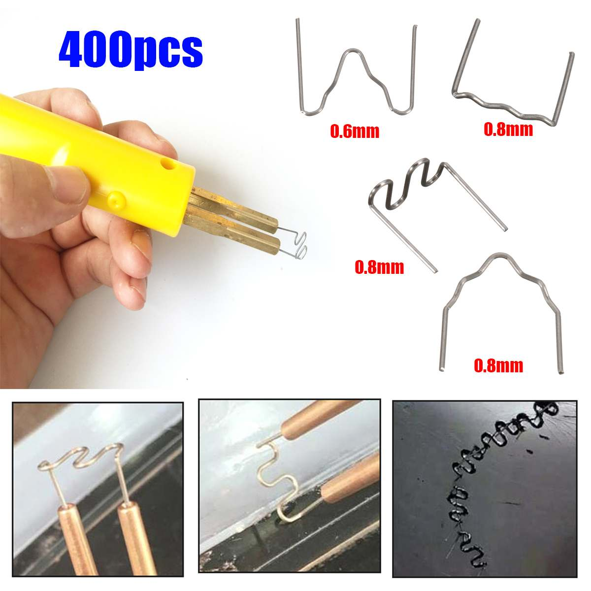NEW 400 Pcs Thermal Thermo Staples Repair Kit For Hot Stapler Bumper Auto For Fender Welders 100pcs/type
