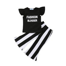 Kids Baby Girls Set Cotton Top T Shirt + Flared Striped Pants Trousers Outfit Summer Clothes Set все цены