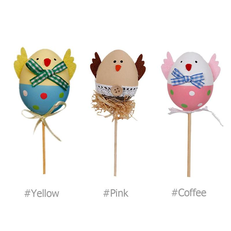 Plastic Easter Eggs With Stick DIY Hand Crafts Party Decor Gadget DIY Hand Crafts Ornaments Kids Creative Decorative Toys