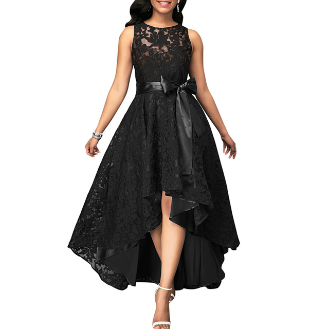 376aa65c90e 2019 Vintage Lace Maxi Dress Women Sleeveless High Low Belted Irregular  Swing A-Line Long Party Dress Burgundy Dark Blue Black