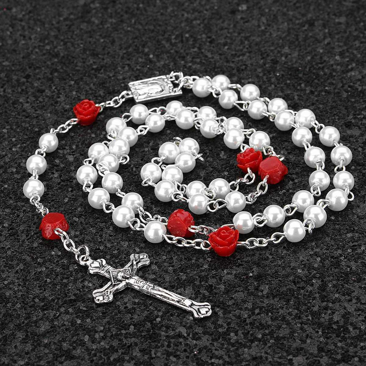 5 Colors Necklace Woman Man Holy Jesus Imitation Pearl Bead Necklace Silver Drop Rosaries Cross Virgin Mary Center