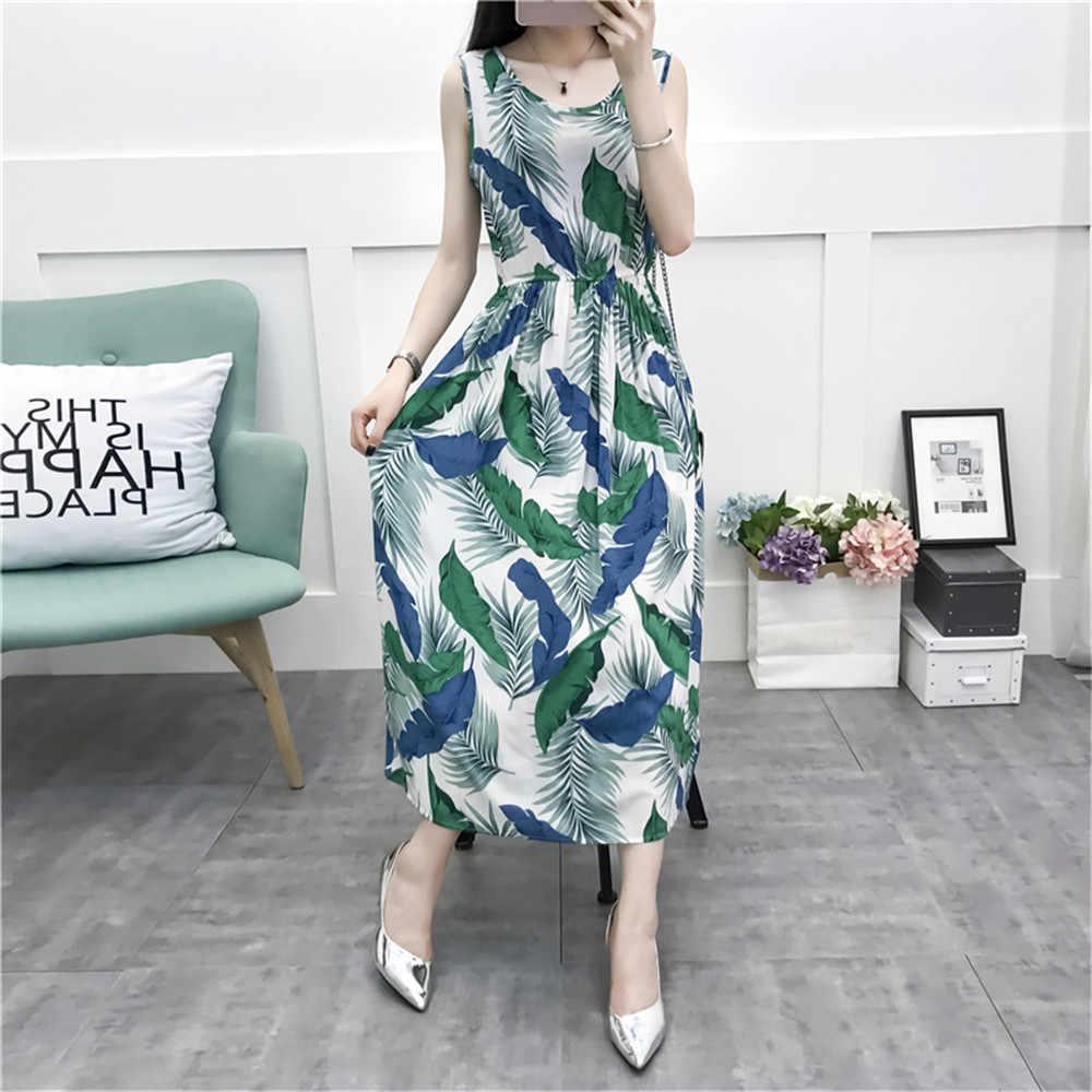 Пляжная одежда плюс размер Ананасовый принт женское летнее платье без рукавов Повседневное платье макси клетчатое хлопковое винтажное платье Vestidos