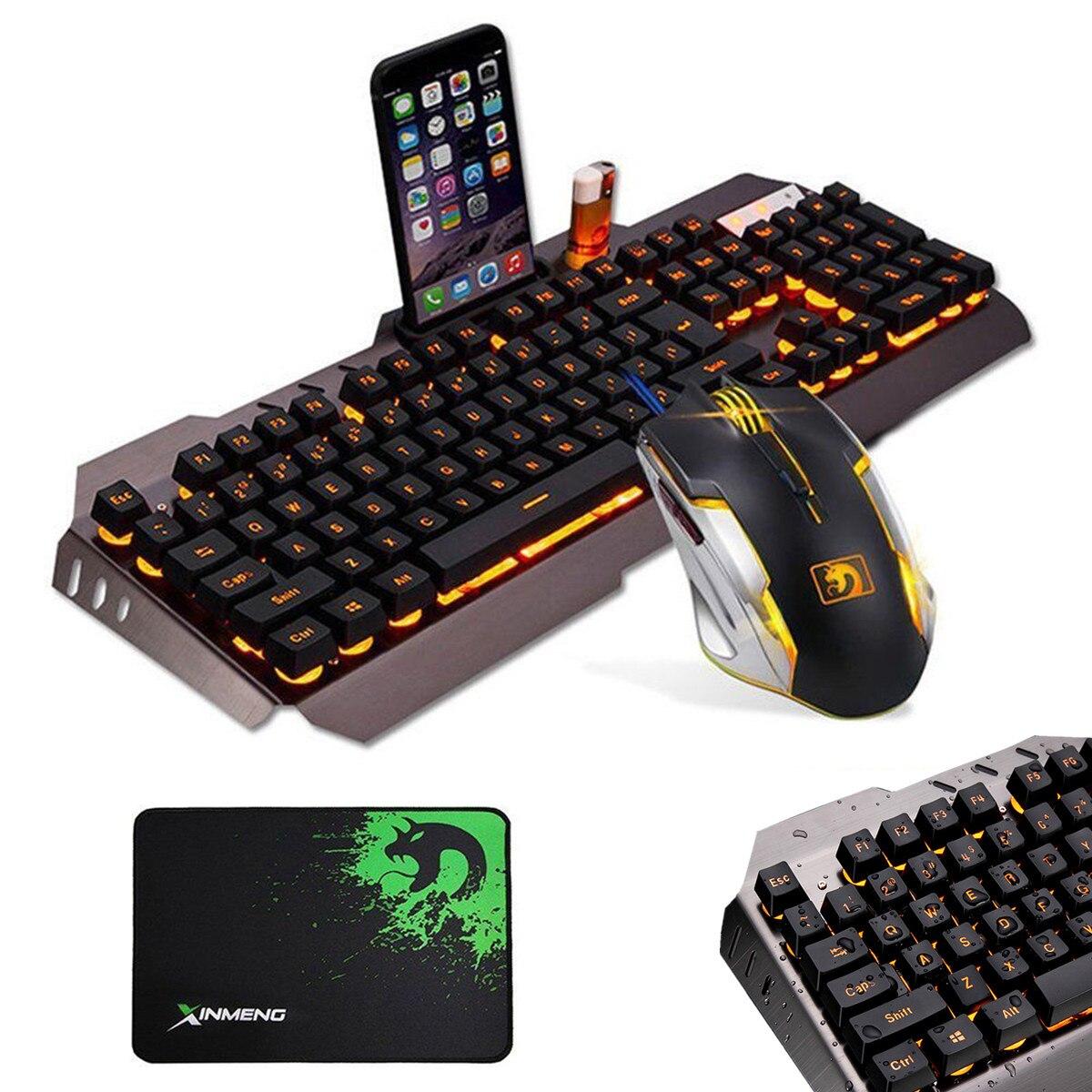 LED filaire rétro-éclairage multimédia clavier de jeu souris Combo clavier ergonomique souris optique tapis de souris ensemble