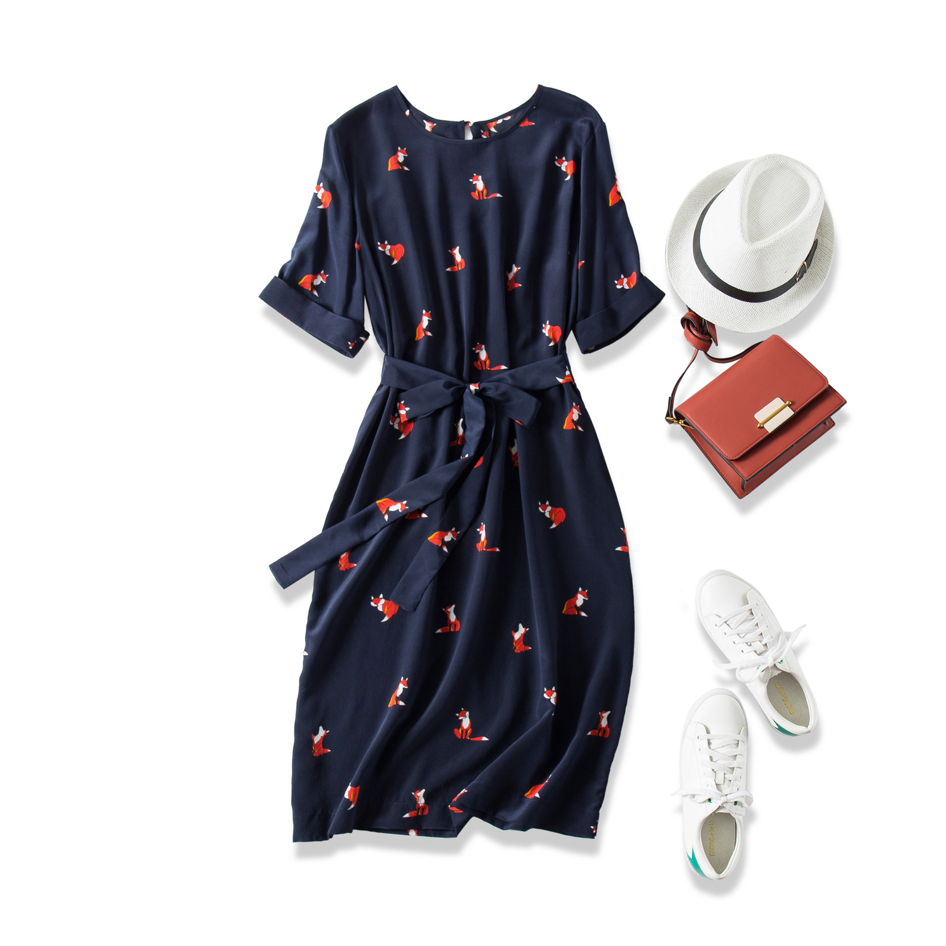 19 Summer New Skin White And Beautiful! Cute Fox Print Lace up Waist Long Mulberry Silk Dress