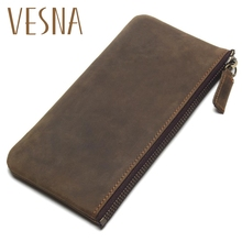 Vesna TAUREN 2019 New Mens Slim Wallets Crazy Horse Leather Simple Clutch Hand Grasping Coin Purse Mobile Phone Packet
