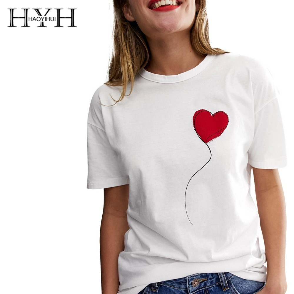 HYH Haoyihui  Simplicity Tshirt Female Causal Witty Love Print Tops  Round Collar Short Sleeve T-shirt Summer Women Freeshipping