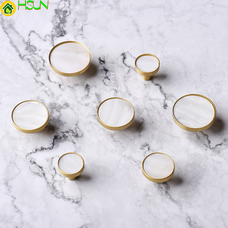 1pc White Round brass shell cabinet pulls Kitchen Drawer Cabinet Handle Furniture Knobs Hardware Cupboard Pull in Cabinet Pulls from Home Improvement