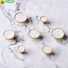 1pc White Round  brass+shell cabinet pulls/Kitchen Drawer Cabinet Handle Furniture Knobs Hardware Cupboard Pull