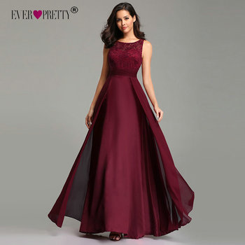 Elegant Prom Dresses Long 2020 Ever Pretty EZ07695 Women's Sexy A-line Sleeveless O-neck Chiffon Lace Cheap Evening Party Gowns 1