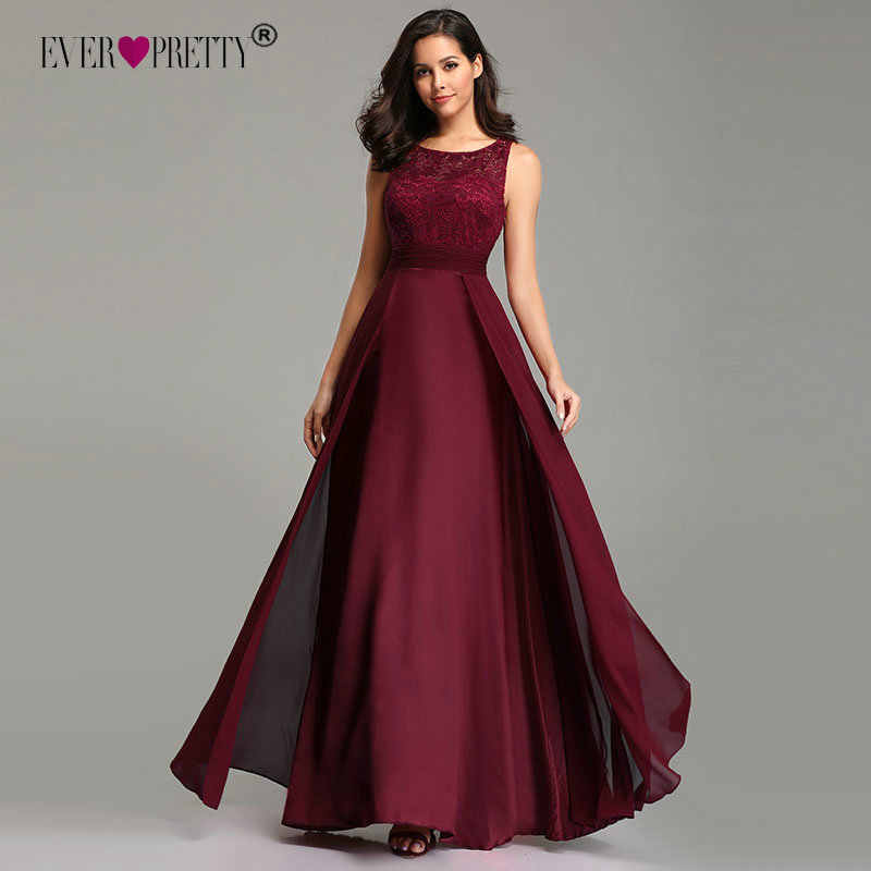 Elegant Prom Dresses Long 2020 Ever Pretty EZ07695 Women's Sexy A-line Sleeveless O-neck Chiffon Lace Cheap Evening Party Gowns