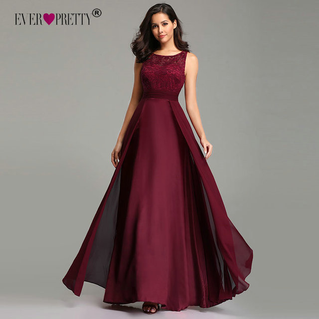 אלגנטי שמלות נשף ארוך 2020 פעם די EZ07695 נשים סקסי אונליין שרוולים O צוואר שיפון תחרה זול ערב מסיבת שמלות