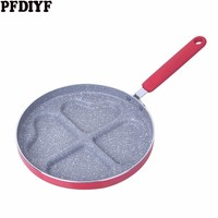 New 4 hole Love Breakfast Pan For Eggs Ham Pan Cake Maker Non stick Frying Pans Creative No Oil smoke Breakfast Grill Pan