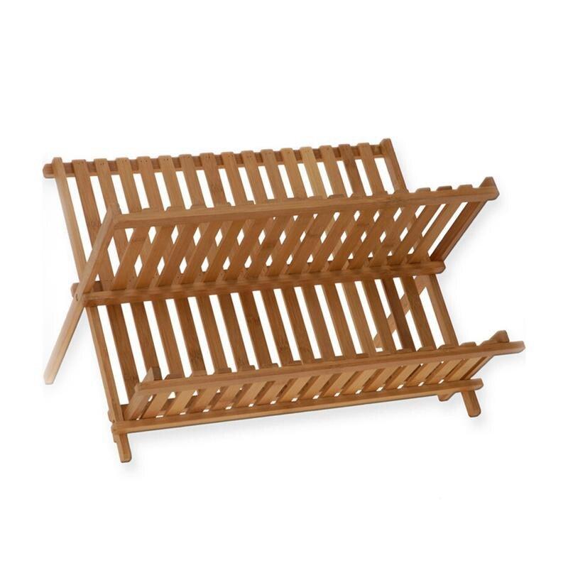 Falten Bambus Dish Rack Trocknen Rack Halter Utensil Abtropffläche Platte Lagerung Halter Platte Holz Besteck Teller Rack