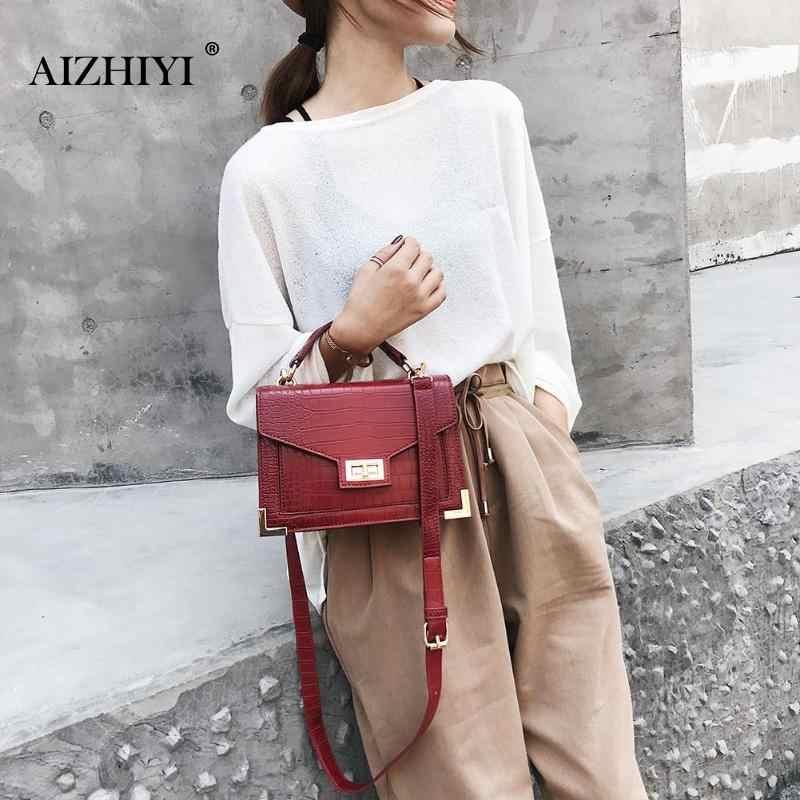 3e677f2e3a6d ... Alligator Square Bag Leather Women Handbag Fashion Female Crossbody  Lock Shoulder Bag Girls Ladies Messenger Bags ...
