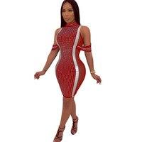 2019 Women Rhinestones Mesh Splicing Slim Dress Sexy Stand Neck Bodycon Party Dress Fashion Off Shoulder Summer Dress