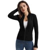 Nuevo punto casual mujeres primavera otoño manga larga cuello de soporte Zip-Up color sólido suéter de punto tops Cardigan tejido abrigo