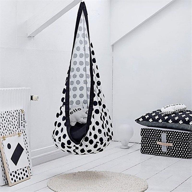 Blanc tacheté Oxford tissu hamac intérieur extérieur chaise suspendue Yoga enfant balançoire chaise chambre d'enfants décoration de la maison