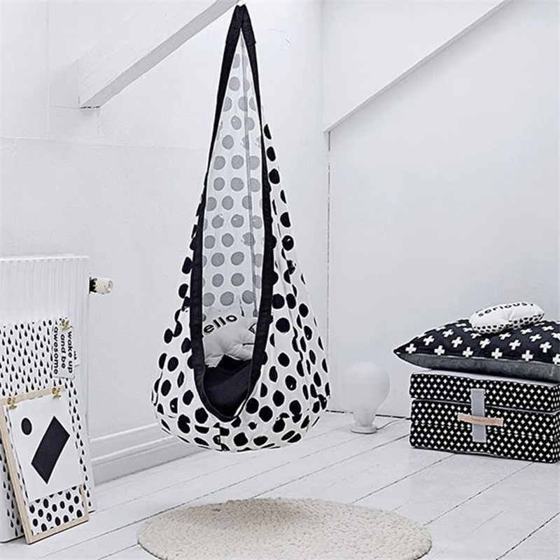 White Spotted Oxford Cloth Hammock Indoor Outdoor Hanging Chair Yoga Child Swing Chair Children's Room Home Decoration