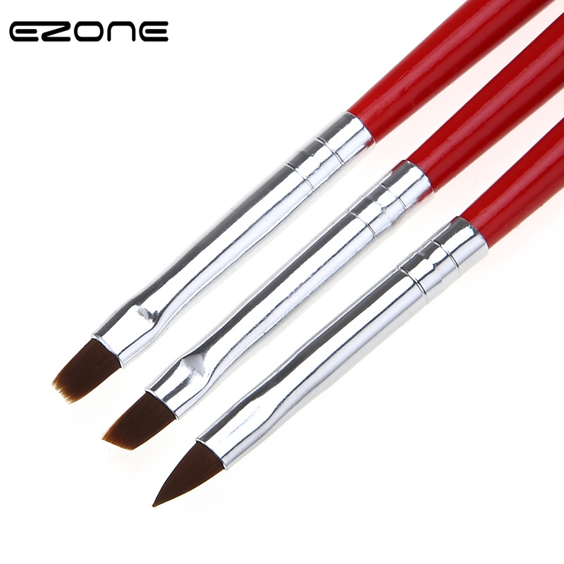 EZONE 3PCS Paint Brush For Watercolr Oil Painting Different Shape Nylon Hair Brushes Gouache Acrylic Drawing School Art Supply