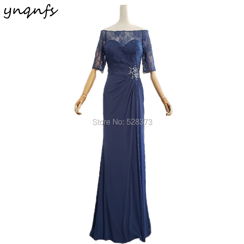 YNQNFS M140 Off Shoulder Boat Neck Half Sleeve Navy Blue Mother of Groom Lace Gown Party Long Dress 2019
