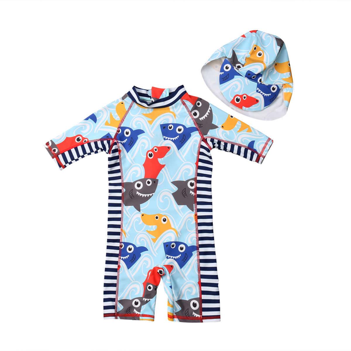 d3dfbabc72 Toddler Baby Boys Girls Cartoon Rash Guard Sun Protective Surf Beach  Swimwear Hat Swimming Suit