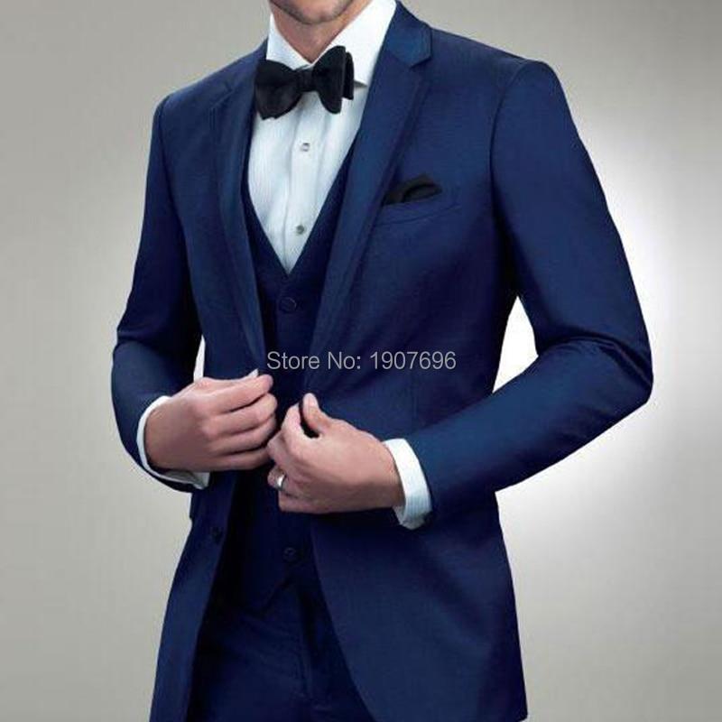 Navy Blue Man Suit for Wedding Groom Notched Lapel Slim Fit Three Piece Men Suits Bridal Tuxedos Jacket Pants Vest Men Blazer in Suits from Men 39 s Clothing
