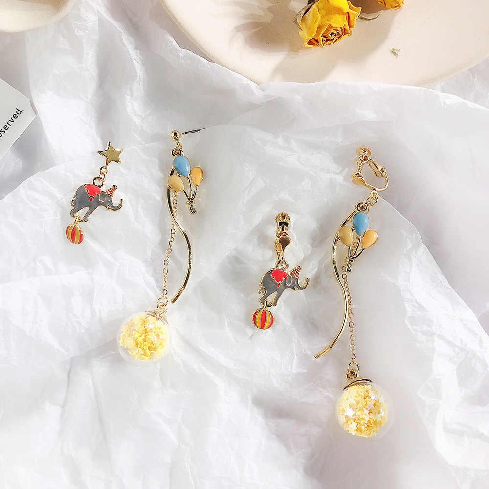 الكورية غير المتماثلة الفيل الكرتون السيرك بالون قلادة أقراط 2019 جديد مجوهرات الأزياء