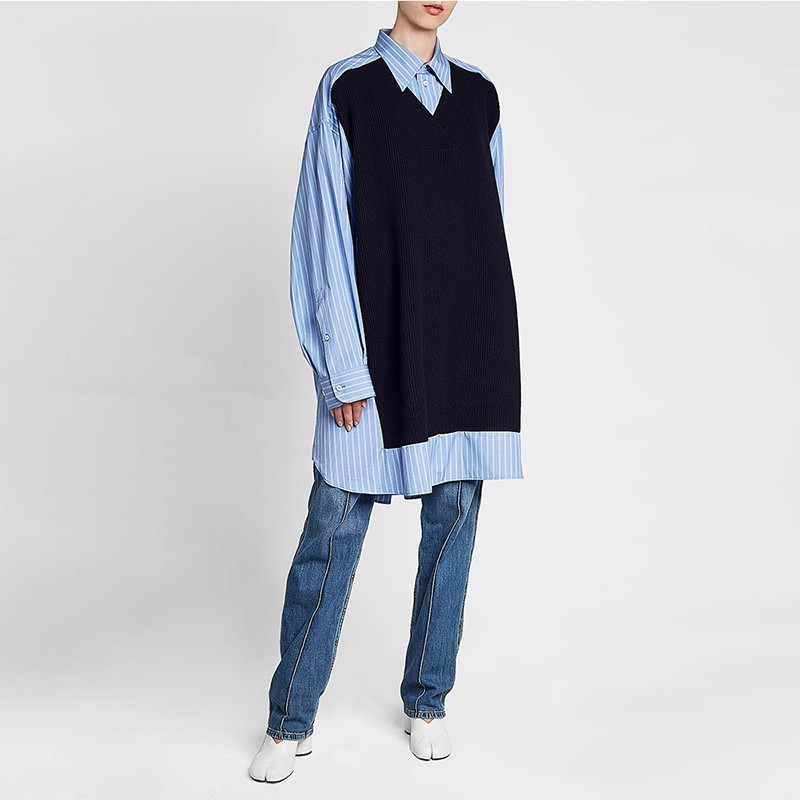 Patchwork Casual Manches Longues Nouveau Twotwinstyle Robe Rayé Surdimensionné Printemps Féminine Robes Couleurs De 2019 Mode Hit Femmes Blue À gXwwqpdO