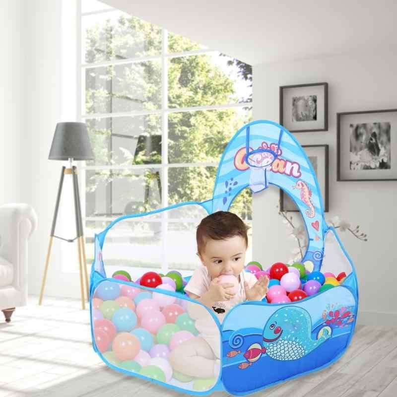 3 In 1 Set Foldable Besar Kolam Renang Anak-anak Merangkak Terowongan Bermain Tenda + Bayi Bola Laut Kolam Renang Anak-anak Bermain rumah Set Anak Permainan Mainan