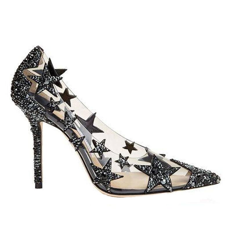 Pour De Glitter As Pompes Piste Femme Bling Chaussures Pvc Dame Motif Stylet Mariage Femmes Transparent Pic Étoiles Cristal Parti Fw04HxgHnq