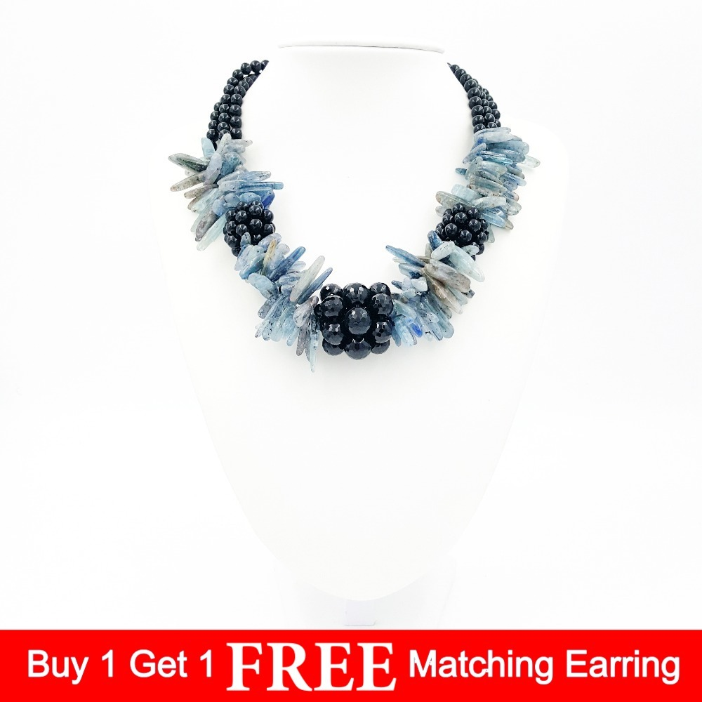 Natural Stone Black Agates Onyx facted beads&Blue kyanite chunky shape Fashion Necklace 19inches special new fashion natural stone maxi necklace black onyx big necklaces